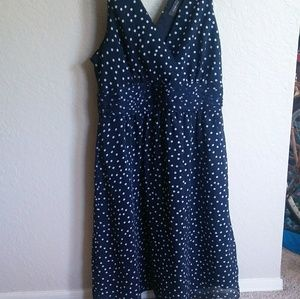 Navy polka dotted dress